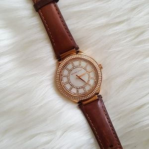 Authentic Michael Kors Brown Leather Watch!